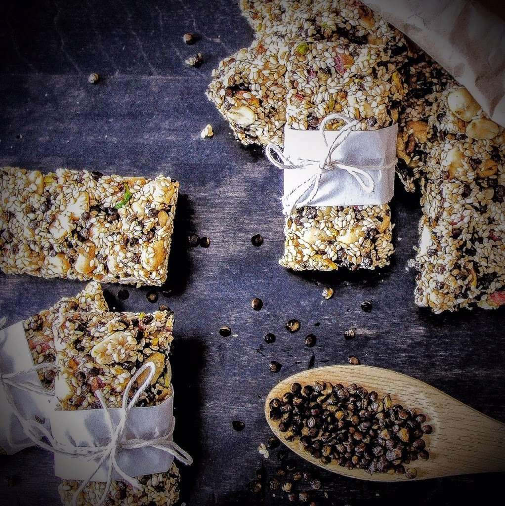Crispy Lentil and Nut Sesame Snap Bars