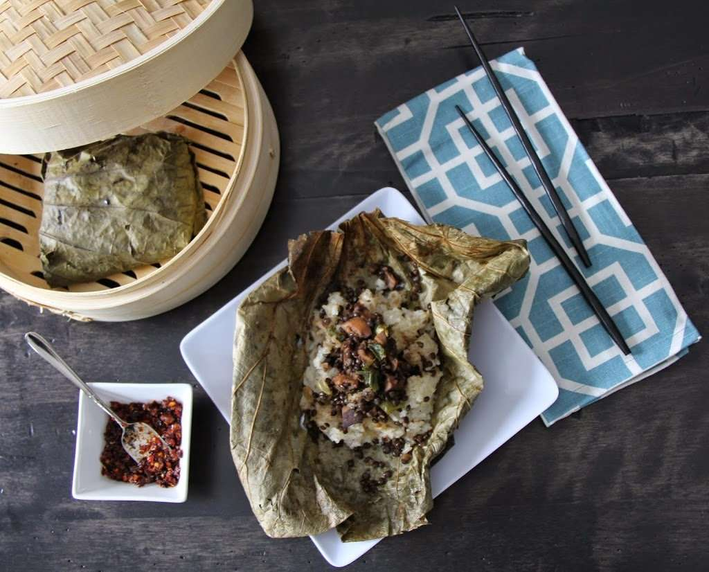 Steamed Lotus Pouches with Sweet Rice, Beluga Lentil and Shiitake Mushroom