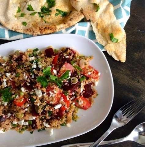 Bulgur & Freekeh Grain Salad with Beets and Goat Feta