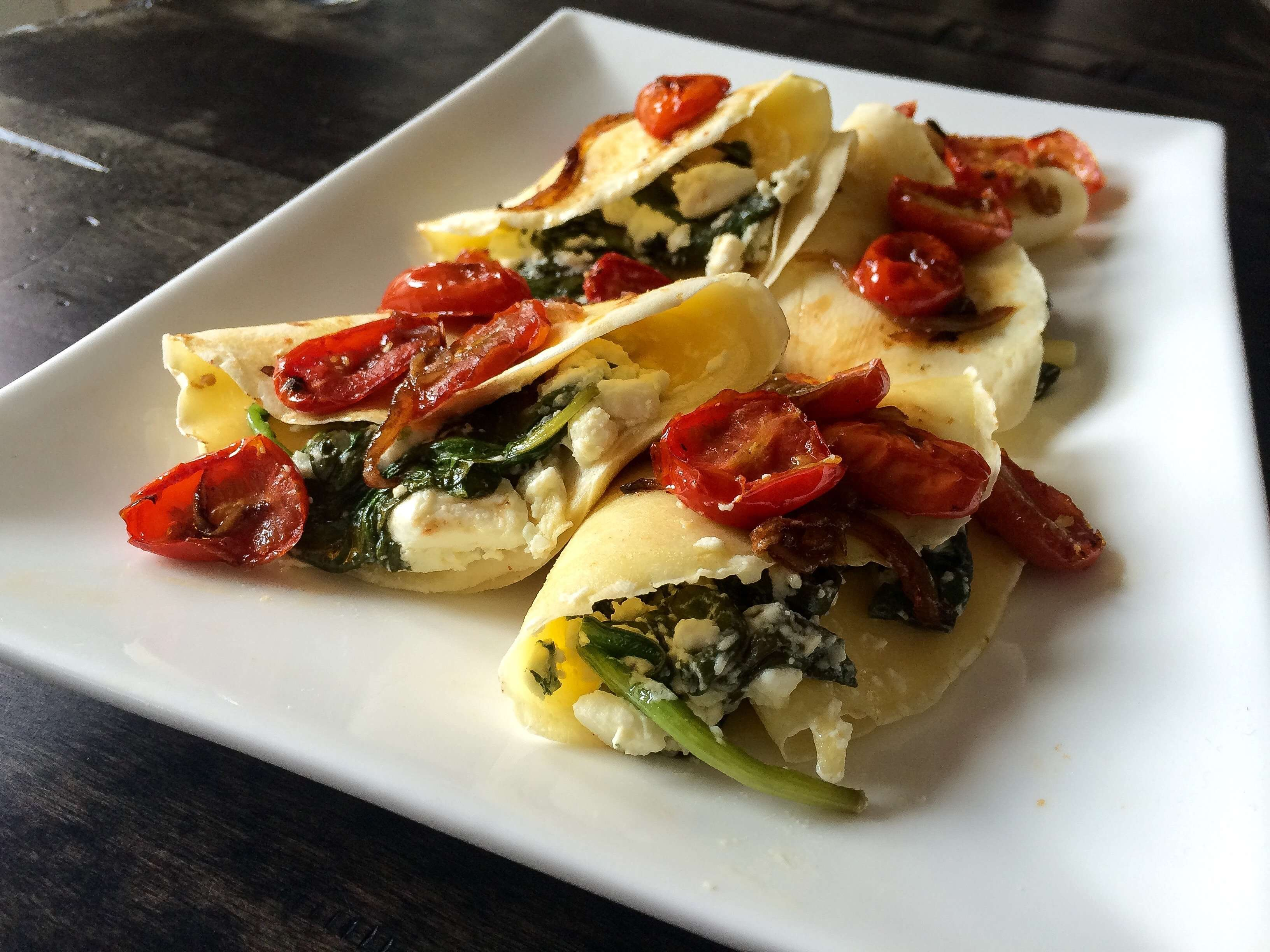 Spinach and Feta Savoury Crepes with Roasted Tomato Chutney