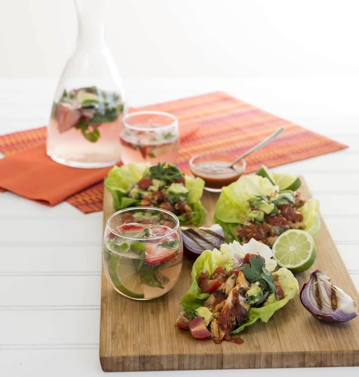 Farm to Table: Lettuce (Piri Piri Chicken Lettuce Wraps + Strawberry Basil Mojito Punch)