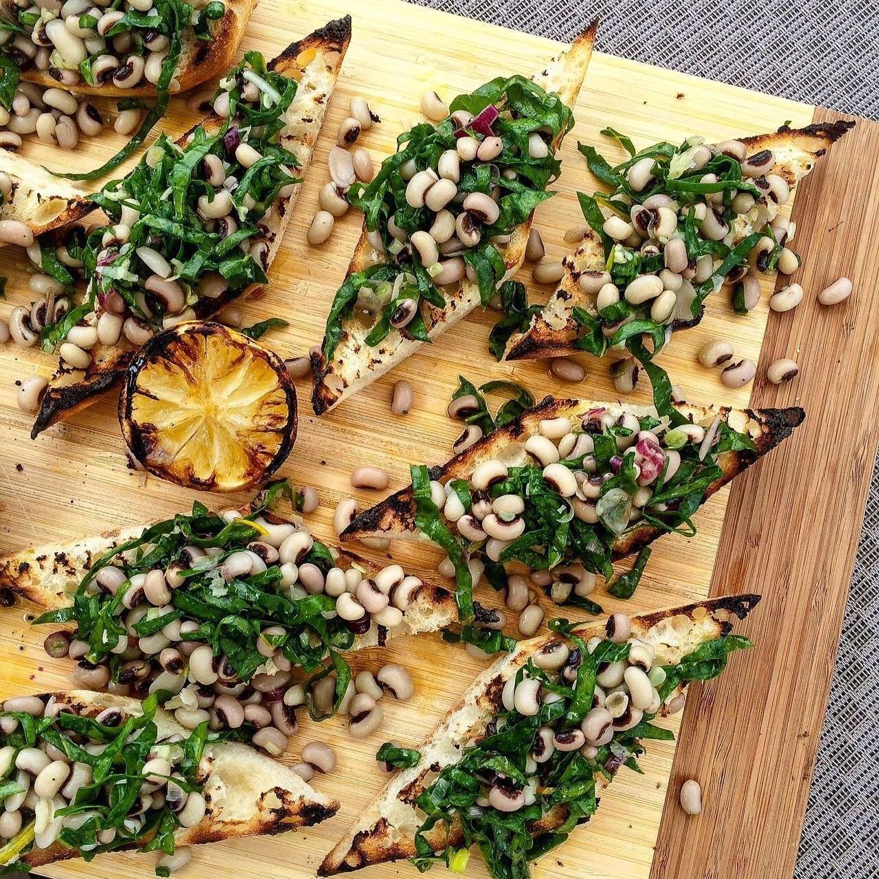 Farm to Table: Swiss Chard + Yellow Swiss Chard and Black Eye Pea Grilled Bruschetta Recipe