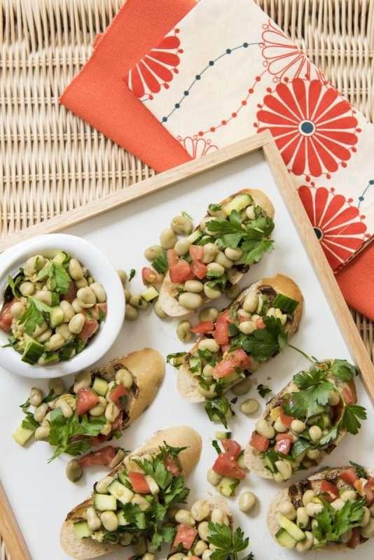 Mediterranean Fava Bean Salad Bruschetta