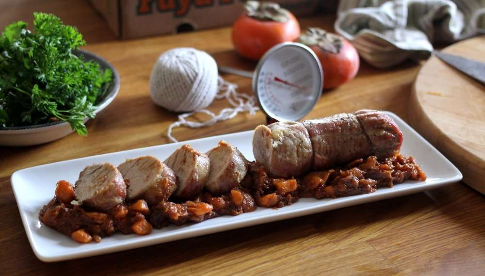 Pork tenderloin with Spiced Persimmon Chutney and Spicy Green Beans