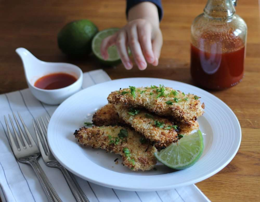 Oven Fried Coconut Chicken Tenders with Honey, Sriracha & Lime Dipping Sauce