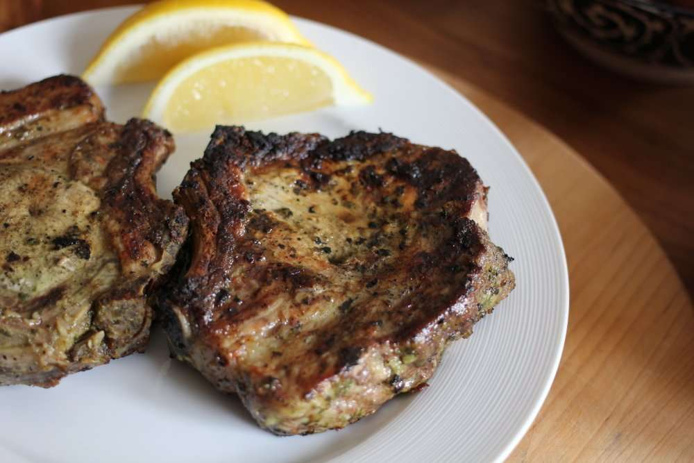 Perfect Pork Chops with Garlic, basil and lemon done two ways (Barbecue & Stove Top Method)  Served with Italian Potato Salad