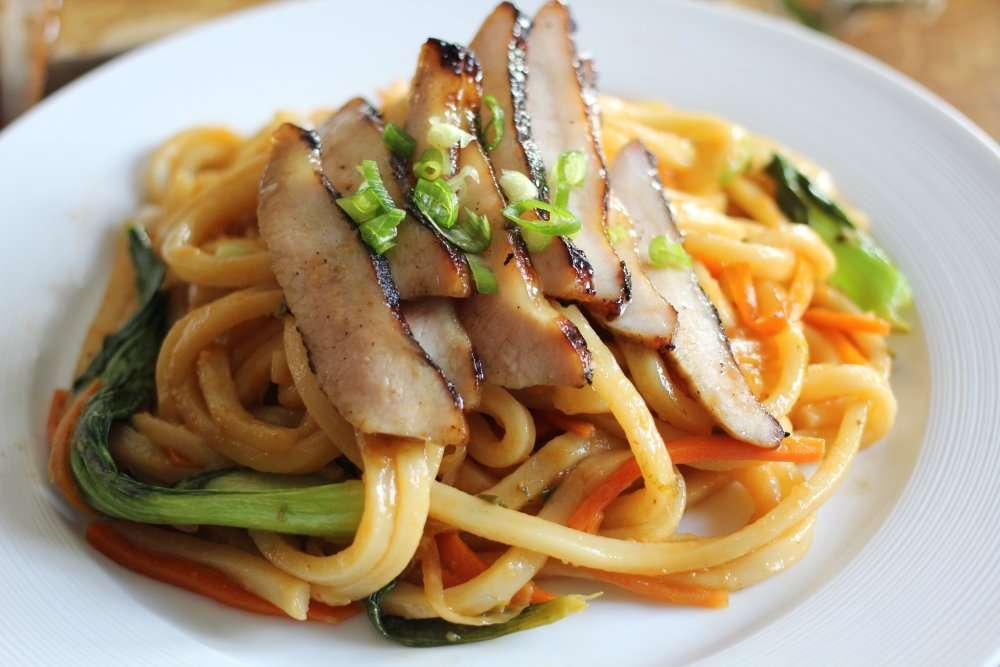 Barbecued Char Siu with Spicy Udon Noodles featuring Liberterre Pork Jowls www.dailytiramisu.com
