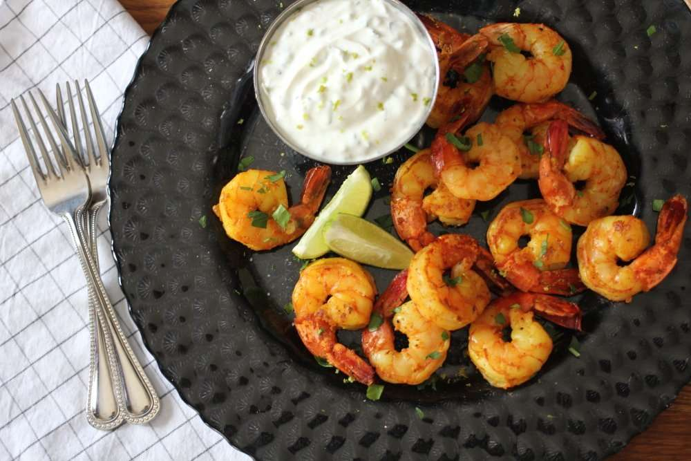 Spiced Shrimp with Tzatziki, Lime & Cilantro Yogurt Dip #FreshAPPYS