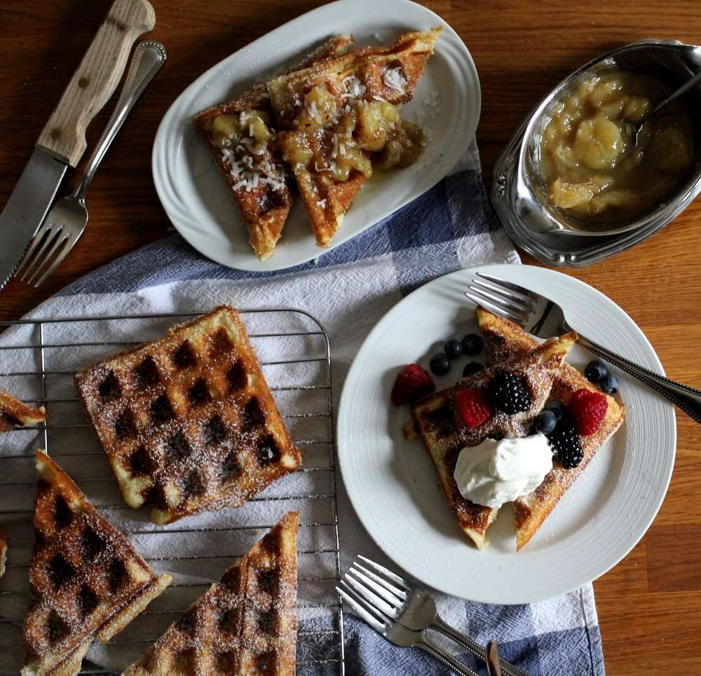 Real Belgian Waffles With Banana Bourbon Syrup + Recipe Video