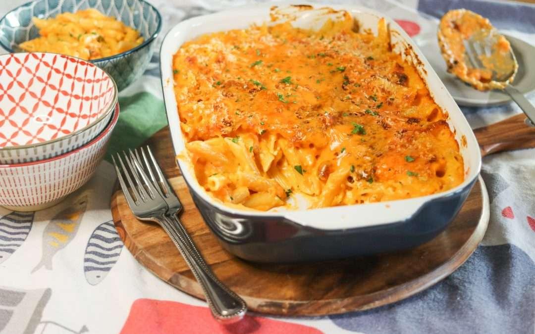 20-Minute, Easy Feta, Cheddar and Sweet Potato Pasta