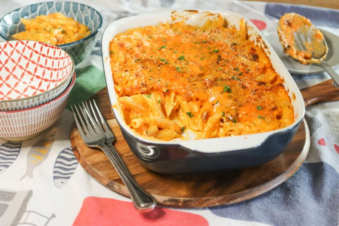 20-minte, easy feta cheddar and sweet potato mac and cheese