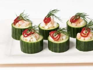 Cucumber bowls with Ceviche Savoury Bites: Quick & Easy Entertaining